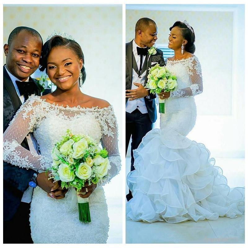 Amazing Ruffles African Lace Mermaid Wedding Dresses 2020 Applique Full Sleeve Wedding Bridal Gown