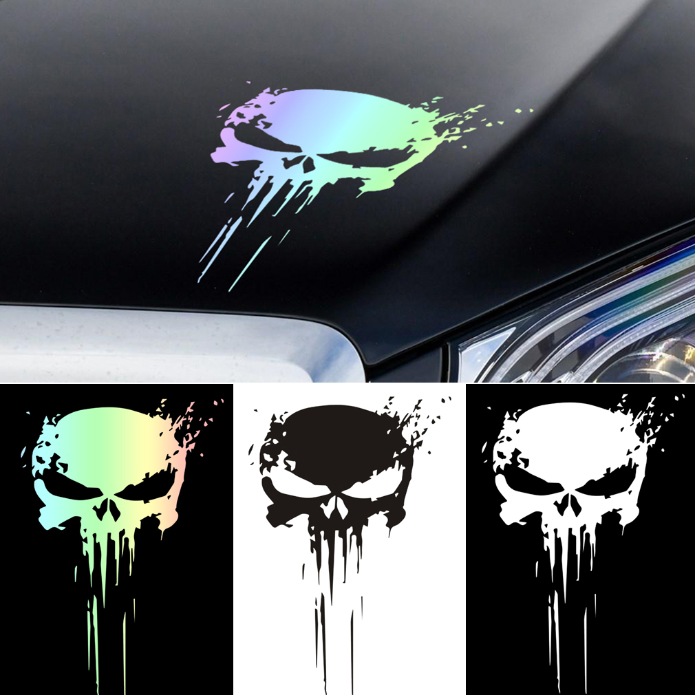1pcs Fashion Car Reflective Stickers Skull Blood Fly Vinyl Motorcycle Decoration Stickers Auto Driving Exterior Accessories