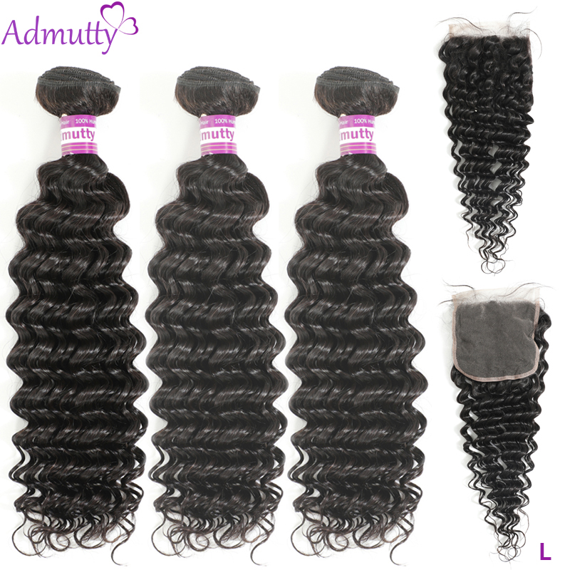 Indian Deep Wave Bundles With Closure 4*4 Human Hair Bundles With Closure Non- remy Hair Extensions Can Be Dyed