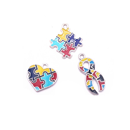 Hot Selling Enamel Autism Awareness Jigsaw Puzzle Piece Charms Pendant Fit DIY Bracelet & Necklace Jewelry Making 10pcs/lot(China)