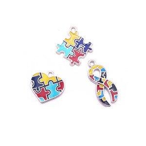 Hot Selling Enamel Autism Awareness Jigsaw Puzzle Piece Charms Pendant Fit DIY Bracelet & Necklace Jewelry Making 10pcs/lot(China)