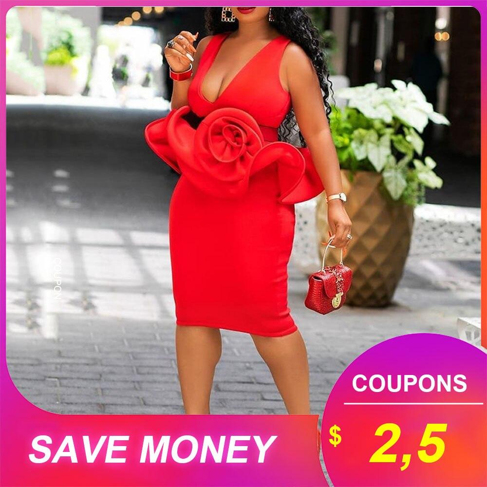 Red Sleeveless Women Bodycon Dress African Falbala Party Dinner Midi Dresses Robe Elegant Sexy 2019 High Waist Femme Vestiods