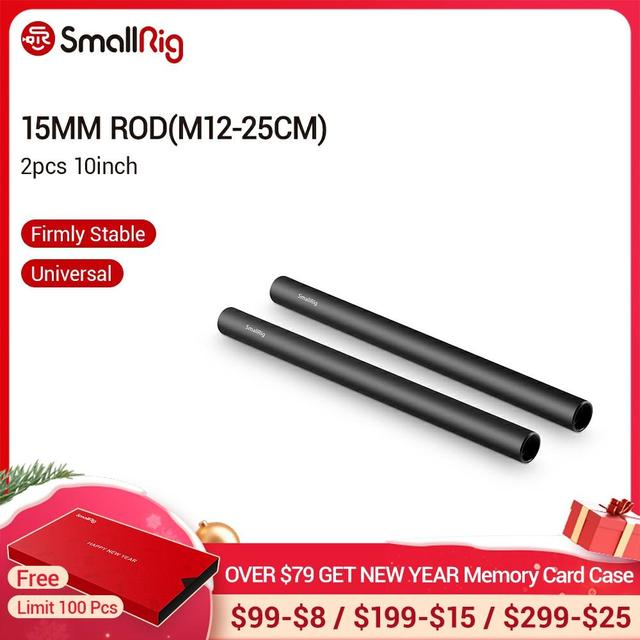 SmallRig 2pcs 15mm שחור אלומיניום סגסוגת מוט (M12 25cm) 10 אינץ מוט 1052