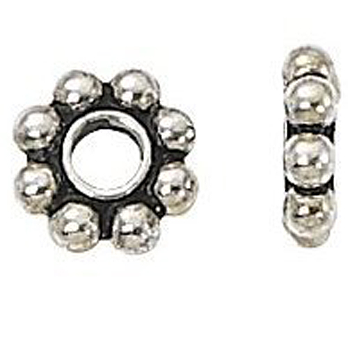 50pcs Tibetan Silver Daisy Metal Spacer Beads 6mm For Jewelry Making