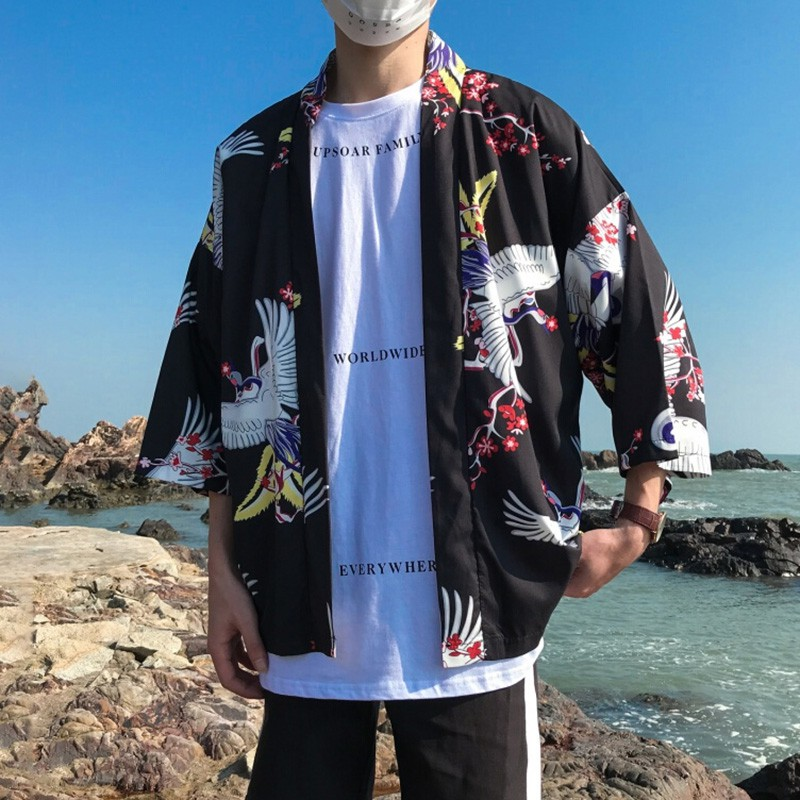 Japanese Style Kimono Men Women Casual Loose Sunscreen Cardigan Fashion Dragon Printed Japanese Clothing