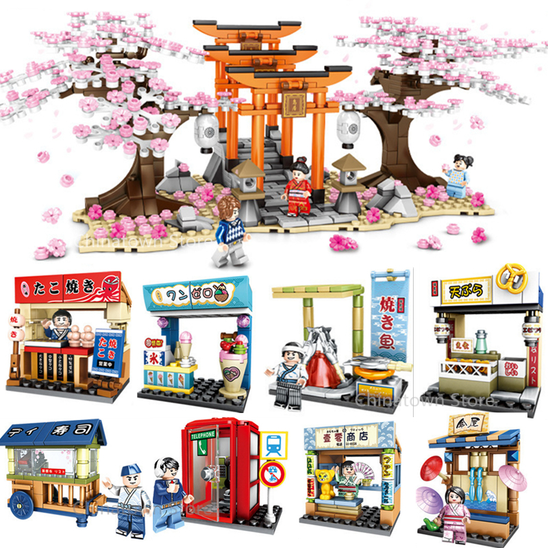Idea Sakura Fushimi Stall Inari Shrine Cherry Blossom Season Landscape House Building Block Sets Bricks Model Classic Friends