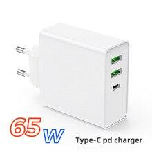 Chargeur mural rapide 65W, adaptateur secteur, 1Port PD60W QC3.0, 2 ports USB pour iPhone, Xiaomi, Samsung, ordinateurs portables