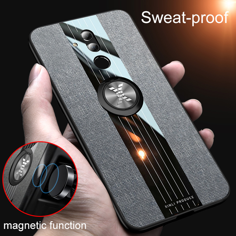 Galleria fotografica For Huawei Mate 20 Lite Case Magnetic Ring Holder Hard Cover Soft Silicone Cases On Mate 8 9 10 Pro Mate20 X Mate10 Phone Shell