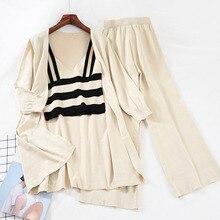 Mooirue Kintting Pants Set Women Striped Tank Top +solid Loose Cardigan+high Waist Wide Leg Vintage Streetwear 3 Piece
