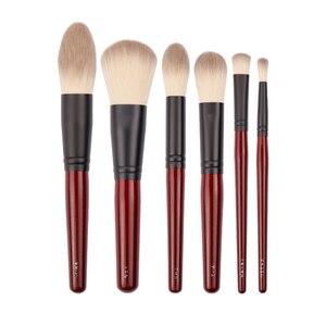 Image 5 - Японский бренд + SP темно красный 6 шт набор кистей для макияжа, Мягкая косметическая кисть для пудры, аксессуары для инструментов