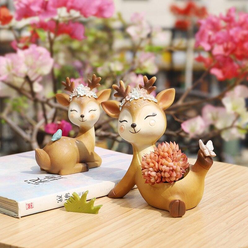 1 piece Cartoon Deer Flowerpot Succulent Planter Pots Animal Sika Deer Craft Desktop Cactus Flower Pot Fairy Garden Decor (11)