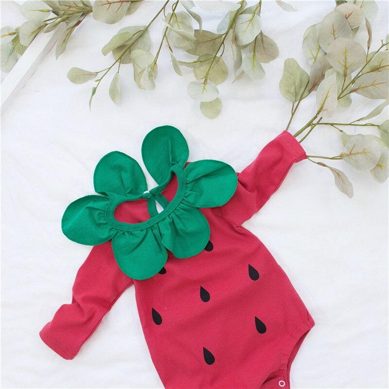 2019 Fall Baby Girl Cotton Bodysuit Lovely Red Strawberry Onesie Long Sleeve Infant Girls Playsuit Winter Jumpsuit For Girl Baby