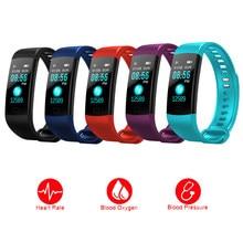 Y5 relógio inteligente homem senhora monitor de pressão arterial bluetooth 4.0 fitness rastreador pulseira freqüência cardíaca para android ios relógio inteligente