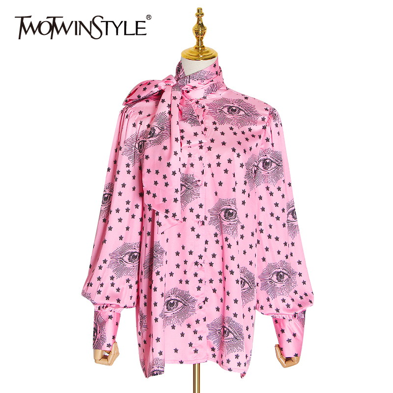 TWOTWINSTYLE Print Hit Color Blouses For Female Bow Collar Lantern Sleeve Lace Up Loose Shirts Women Fashion 2020 Tide Clothing