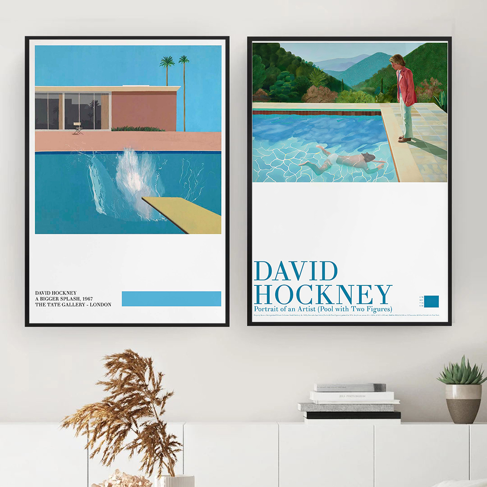 David Hockney art Exhibition Poster A Bigger Splash Art Print Modern Minimalist David Hockney Print Hockney Office Home Wall Art