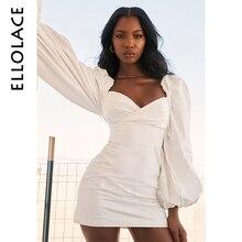 Ellolace Sexy Bodycon Mini Dress Women Autumn Puff Long Sleeve Slim Female Backless New Midi Slach Neck Fashion White