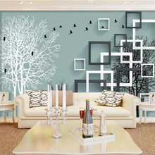 все цены на Custom wallpaper stereo 3D mural abstract woods flying birds background wall painting wall papers home decor mural 3d wallpaper онлайн