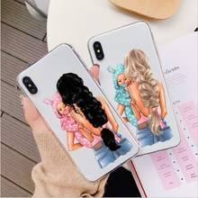 Fashion Black Brown Hair Baby Mom Girl Queen Case For iPhone X XR XS Max Pro 6 6S 7 8 Plus 5S SE soft Silicone Cover Phone