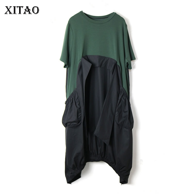 XITAO Europe Loose Plus Size Irregular Women Dress Design Patchwork A Line Casual Pullover 2020 Summer Small Fresh Dress XJ4818(China)
