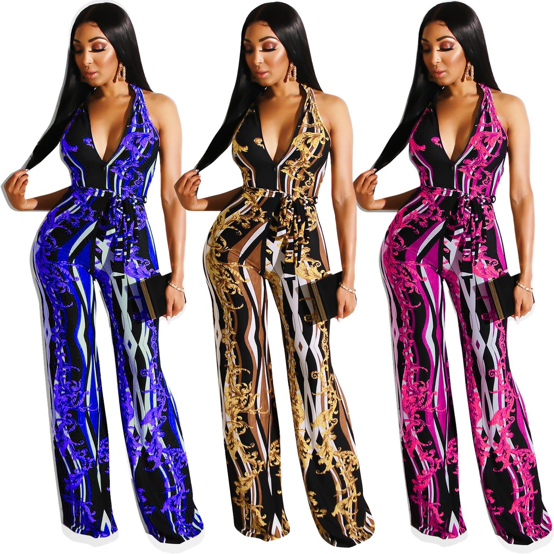 2020 women summer vintage chain printed sleeveless high waist combination nightclub party romper beach streetwear jumpsuit