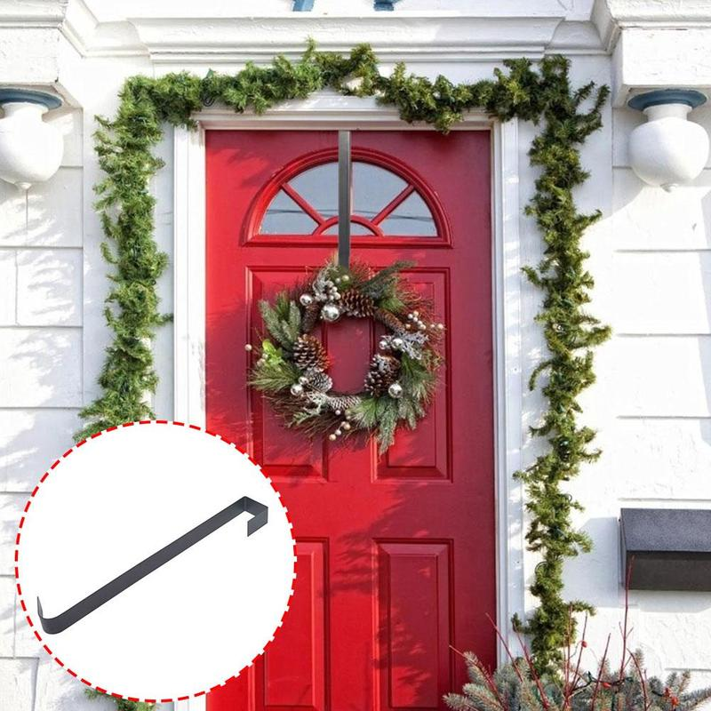 1pcs Christmas Door Hook Metal Wreath Hanger Over The Door Hooks Christmas Garland Holders Storage Organizer