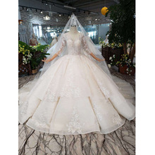 BGW HT5627 Suknia Slubna 2020 luksusowa Suknia balowa Suknia ślubna z długie rękawy z aplikacjami gorset Suknia ślubna księżniczka z pociągiem