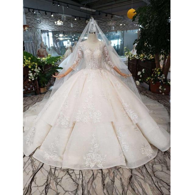Bgw HT5627 Suknia Slubna 2020 Luxe Baljurk Trouwjurk Met Lange Mouwen Applicaties Corset Prinses Wedding Gown Met Trein