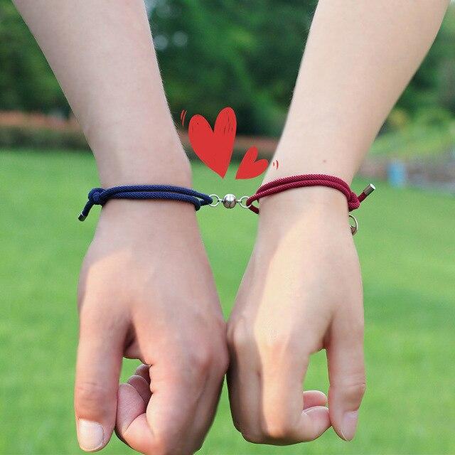 Магнитный привлекательный браслет для влюбленных пар, регулируемый браслет ручной работы с веревкой для лучших друзей, Набор браслетов с п...
