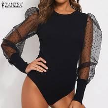 2020 Spring Fashion See-through Shirts ZANZEA Sexy Mesh Patchwork Leotard Tops Women Puff Sleeve Sli