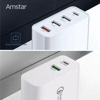 Amstar 48W USB C PD cargador de carga rápida QC4.0 3 0 adaptador de viaje de carga rápida para iPhone 11 XS XR X Samsung 10 9 Huawei Xiaomi Cargadores de teléfono móvil    -
