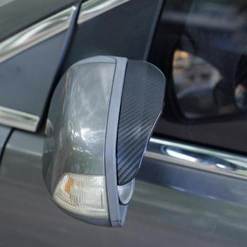 Lusterko wsteczne z włókna węglowego deszcz brwi dla Honda Hrv Civic Accord cr-v uwolniony Pilot pasuje do odyssey City BR-V Mobilio WR-V tanie i dobre opinie Soft PVC Black (Carbon Fiber Look)