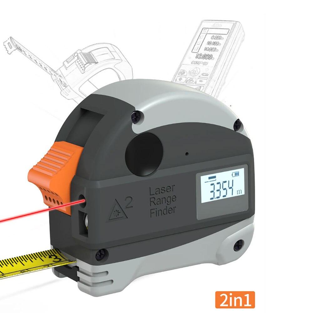 ALLSOME Laser-entfernungsmesser + 5M Anti-herbst Stahl Band Metrischen und Zoll maßband Hohe Präzision Abstand Meter