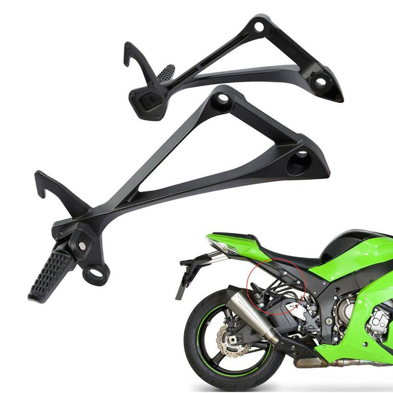 HDMT Black Front Rider Foot Pegs Bracket For Kawasaki ZX6R ZX-6R 2005 2006 2007 2008 ZX636 2005 2006