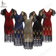 Great Gatsby Dress Women 1920 s Vintage Sequin Art Deco Double Flapper Dresses Vintage V Neck Party Dress Embellished Fringed