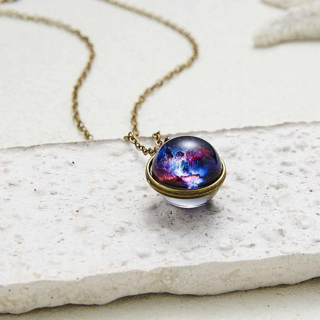 Necklace Women Chain цепочка Accessories Glow In The Dark Galaxy System Double Sided Glass Dome Planet Pendant Free Ship
