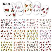 Gam belle 12 шт наклейки на ногти цветок водяной знак слайдер