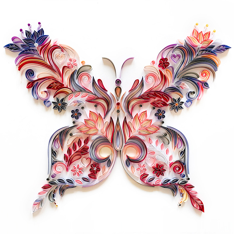 20 inch butterfly quilling illustration material package DIY creative slot craft paper handmade decoration gift paper draft 6