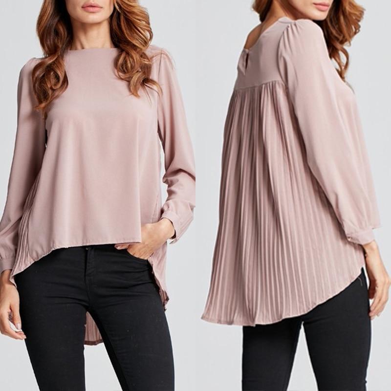 Women's Asymmetrical Tops Chiffon Blouse 2020 ZANZEA Stylish OL Pleated Blusas Female Summer Long Sleeve Shirts Plus Size Chemis