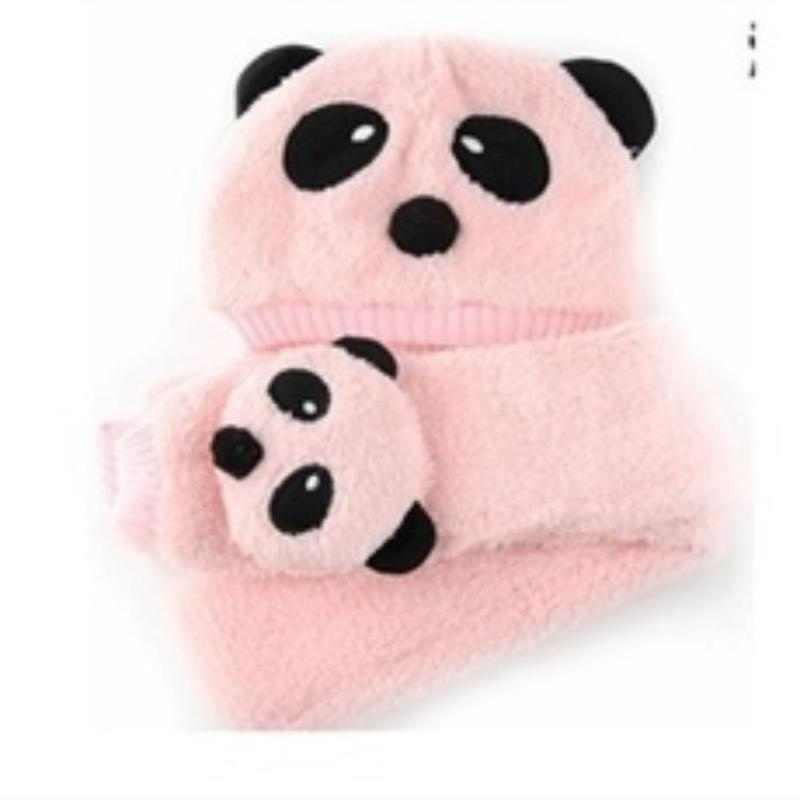 5 色素敵なデザイン冬ベビーキッズパンダスタイルぬいぐるみウォームキャップ帽子スカーフセット快適なかわいいギフトのための