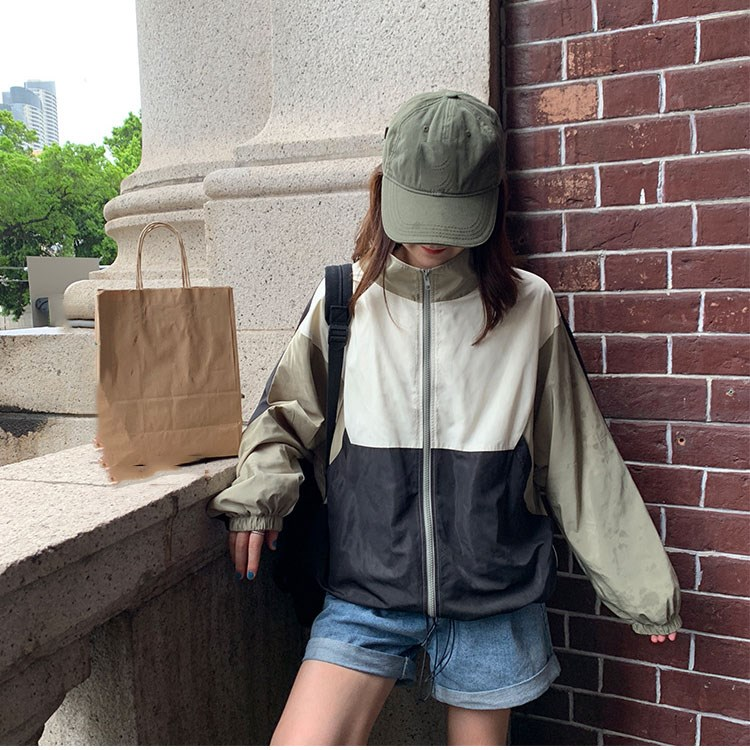 Women Long Sleeves   Basic     Jackets   Female Casual Zipper Pockets Loose Coats Autumn Stand Collar Windbreaker   Jacket