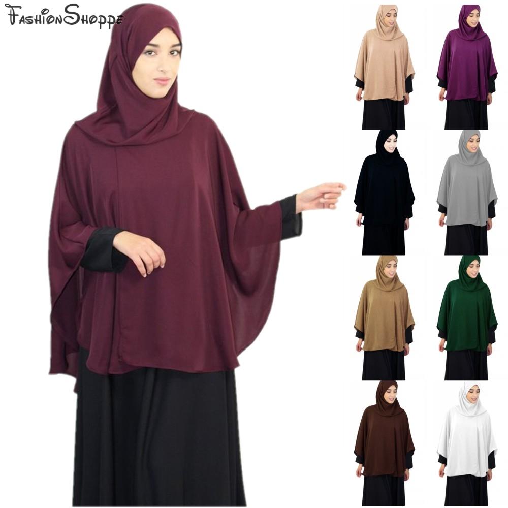 Full Cover Muslim Women Prayer Shawl Niquab Long Scarf Khimar Hijab Islam Large Overhead Clothes Jilbab Ramadan Arab Middle East