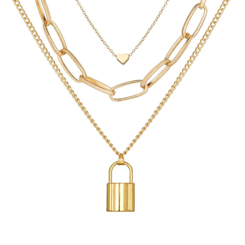 Bohemian Multi Layered Necklace for Women Vintage Portrait Heart Lock Pendant Necklace Geometric Collier Collares