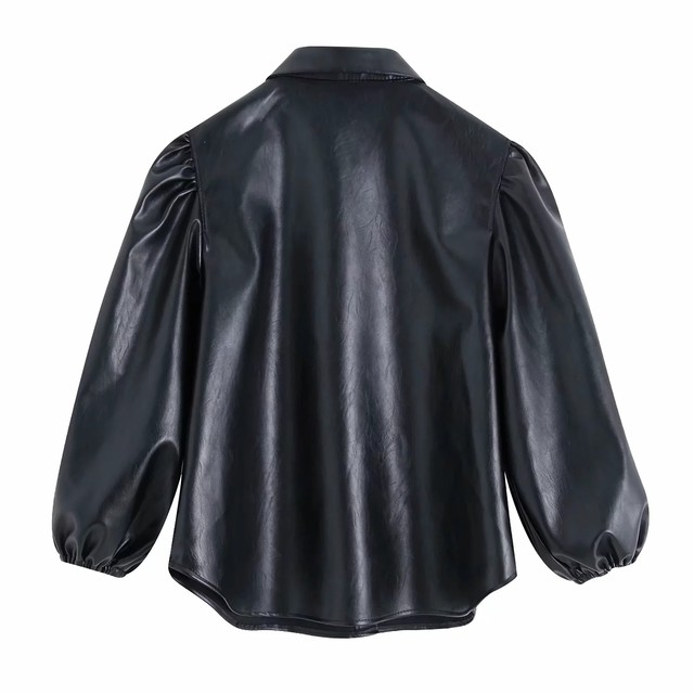 New design za PU faux leather Womens Blouses Shirts puff sleeve autumn Womens tops and blouses streetwear korean Camisa Blusas 14