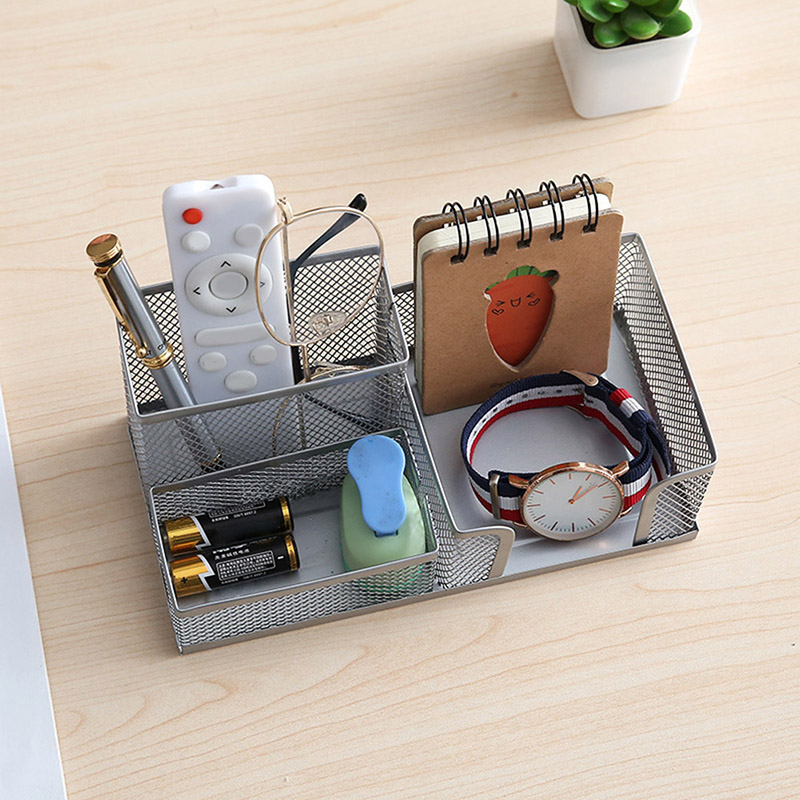 Metal Desktop Pen Holder Office Storage Box Pencil Desk Mesh Organizer ING-SHIPPING