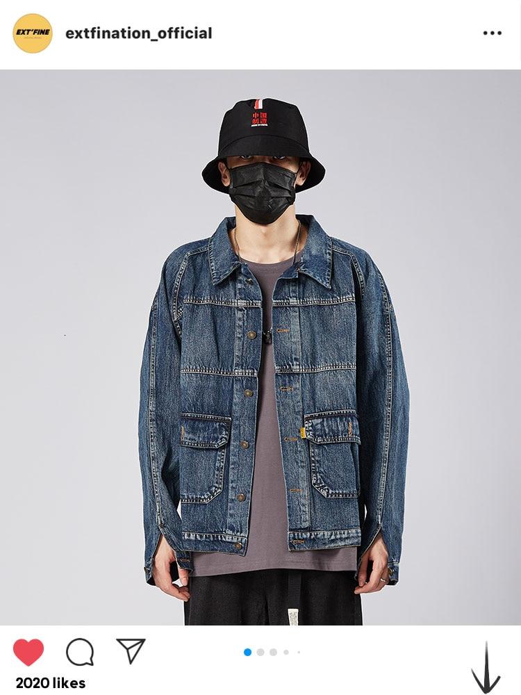ExtFination Man 2020 Hip Hop Clearance Sale Denim Jackets Man's Spring Streetwear Denim Jacket Male Solid Vintage Casual Clothes