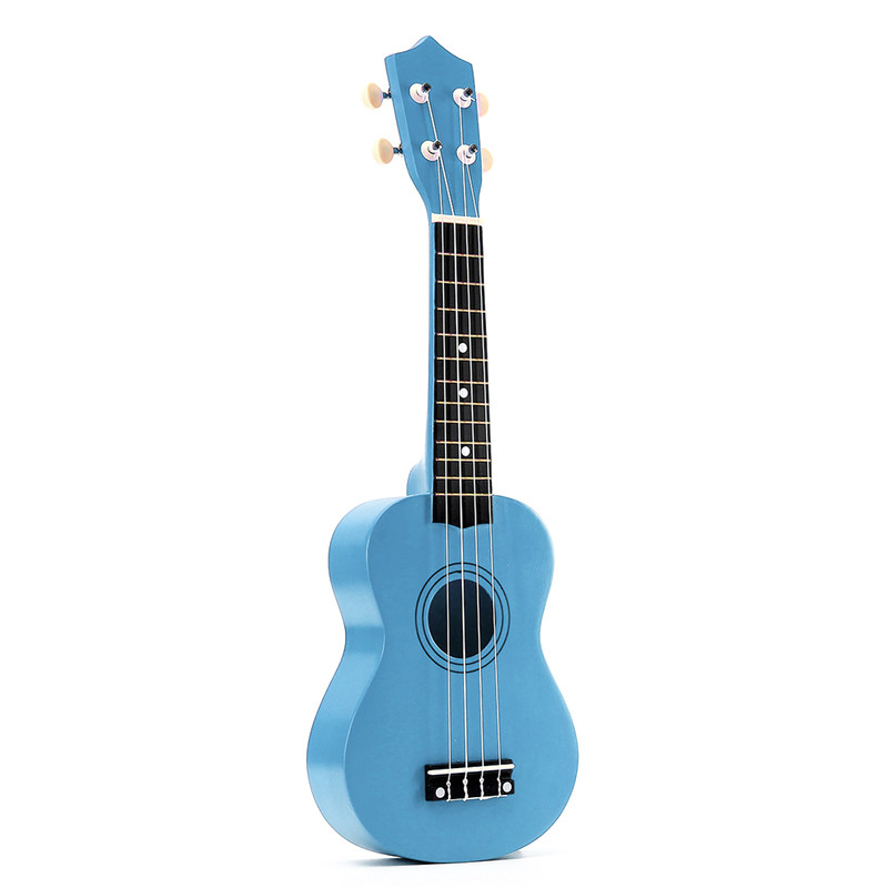 21 Inch Soprano Ukulele 4 Strings Hawaiian Guitar Uke + String + Pick For Beginners Kid Gift(Light Blue)