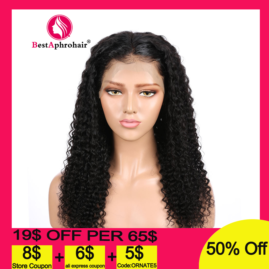 Aphro 360 Lace Frontal Wig Pre Plucked With Baby Hair Brazilian Remy Curly Lace Front Human Hair Wigs 10-24inch Natural Color