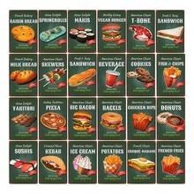 Comida rápida cartel hamburguesa señales Retro Vintage Metal placa de pared Pub Bar cocina francés plato para alimentos fritos casa decoración 20x30cm