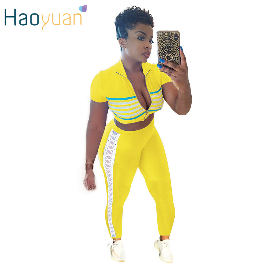 HAOYUAN Casual Two Piece Set Tracksuit Women Clothing Short Sleeve Striped Crop Top And Bandage Pants Streetwear Matching Set