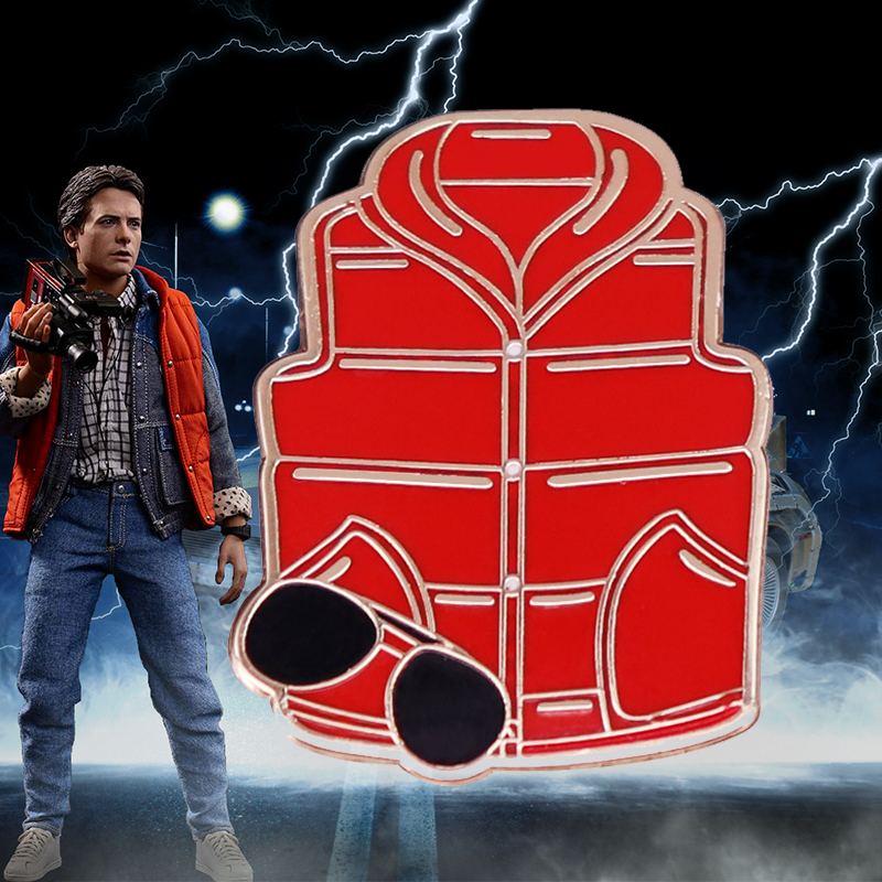 Marty McFly Costume Badge Red Vest and Sunglasses Enamel Lapel Pin Back To The Future Time Travel Sci-fi Movie Fans Gift